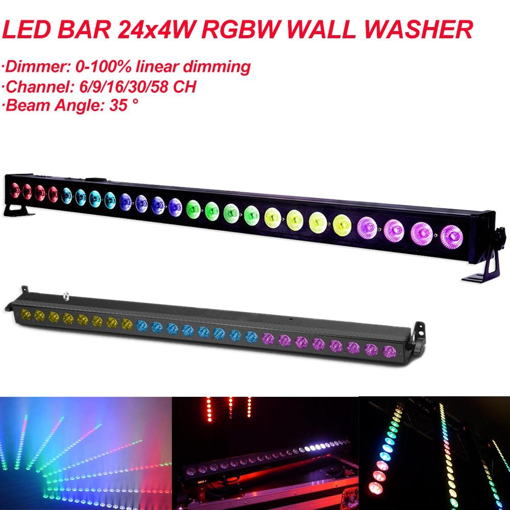 LED Bar 24x4W RGBW 4IN LED Wall Wash Super Large Light Angle DMX 512 Control Device Suitable Disco DJ Ballroom Bar Decoration