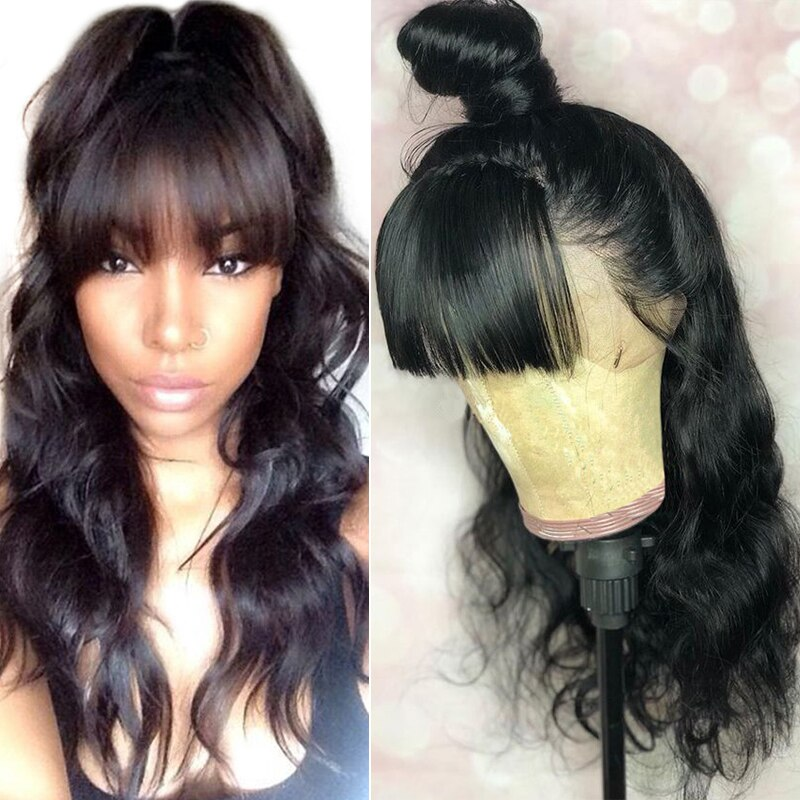 360 Lace Frontal Wig With Bangs Body Wave 250 Density 13x6 Lace Front Human Hair Wigs Pre Plucked Fake Scalp 370 Dolago Remy