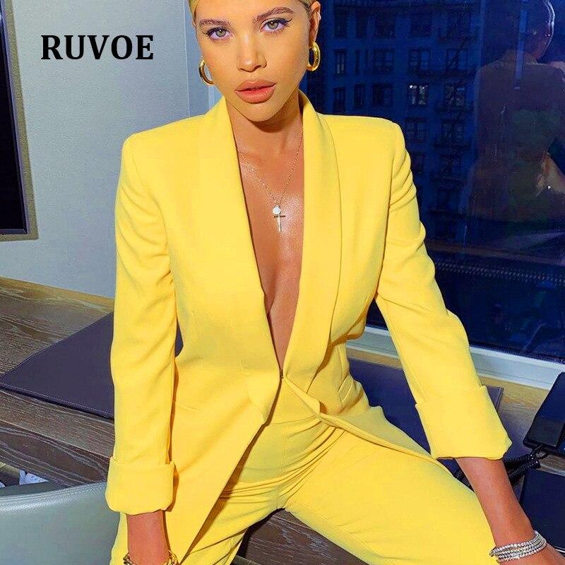 Invierno otoño alta cintura mujeres amarillo Blazer Top y pantalones conjunto de manga larga OL chaqueta Sexy dos piezas sólido las mujeres de YFL-305