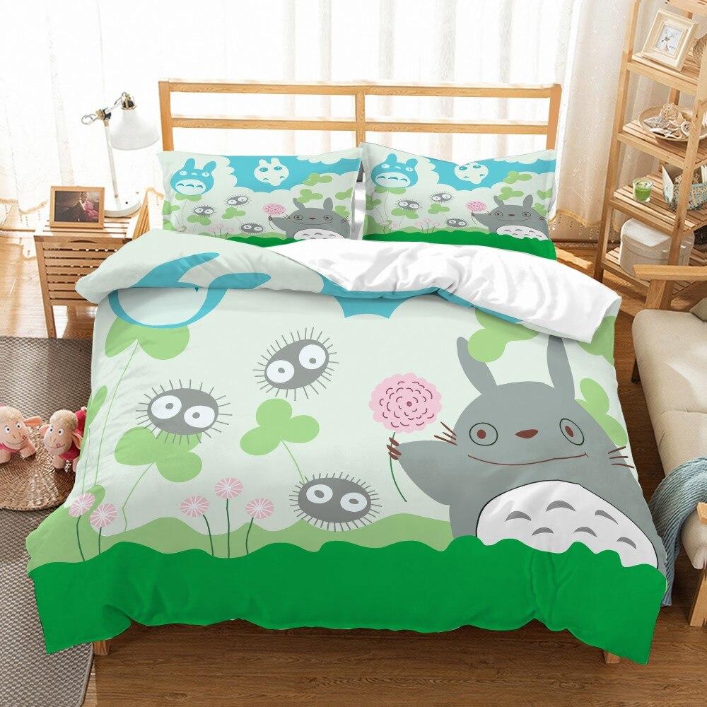 Juego de edredón con estampado 3D de My Neighbor Totoro, juego de ropa de cama de microfibra suave, juego de cama de 2/3 uds, funda de cama doble Full Queen King