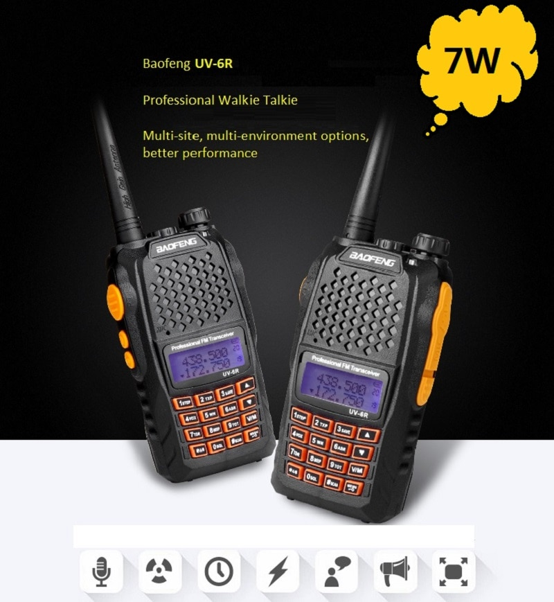 2pcs Baofeng UV-6R 7W Walkie Talkie Two Way Radio Dual Band Vhf Uhf For CB Radio more beauty and higher power than baofeng uv-5r недорого