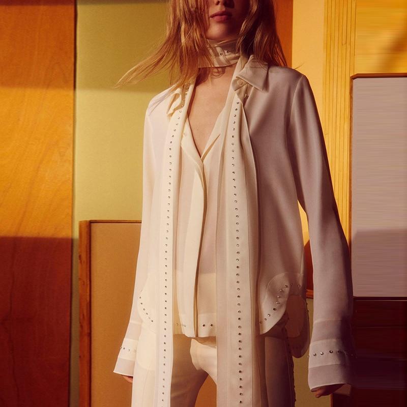 المرأة الماس بلوزة شيفون مع وشاح مضيئة كم عالية الشارع قميص بلايز نوعية ممتازة