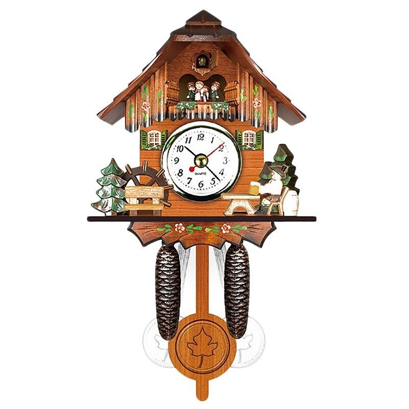 Antique en bois coucou horloge murale oiseau temps cloche balançoire alarme montre maison Art décor 006