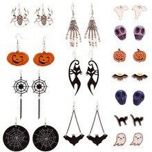 Punk Terror Ohrring für Frauen Spinne Kürbis Halloween Ohrringe Mode Halloween Party Zubehör Lustige Schmuck Geschenke
