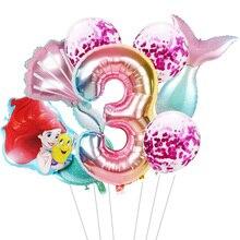 1 set mermaid Ariel cartoon balloons princess foil balloon 32Inch Number baby girl pink air baloes b