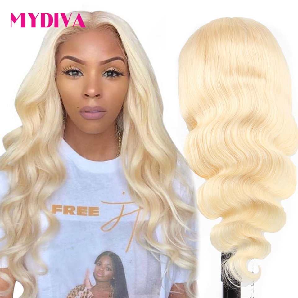 613 Blonde Lace Frontal Human Hair Wigs 13×4 Body Wave Lace Front Wig Pre Plucked For Women 30 38 Inch Transparent Lace Wig Remy