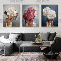 Weiwei     peinture sur toile abstraite de femme  plume florale moderne de Style nordique  affiche dart murale  decor de maison de salon