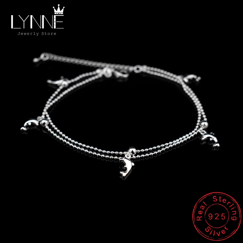New Fashion Dolphin Pendant Small Round Ball Bead Anklet Bracelet 925 Sterling Silver Ankle Chain For Women Jewelry Gift