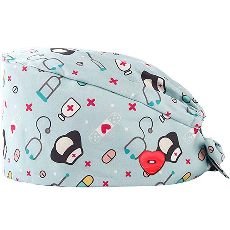 Fashion Breathable Scrub Cap Printed Button Work Hat Casual Unisex Outdoors Nurse Work Hat For Home