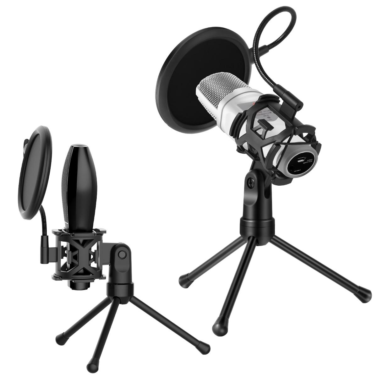 Soporte de micrófono de filtro Pop de pantalla de viento profesional con trípode soporte de micrófono para escritorio soporte de choque