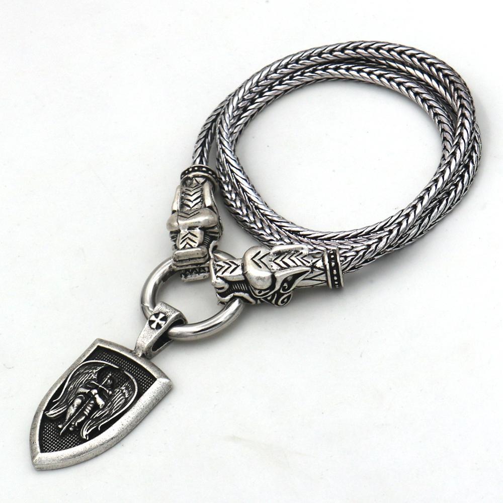 Arcángel protector Michael de Arcángel de la joyería de Lobo, cadena de cabezas, collar vikingo con colgante largo para hombres y mujeres