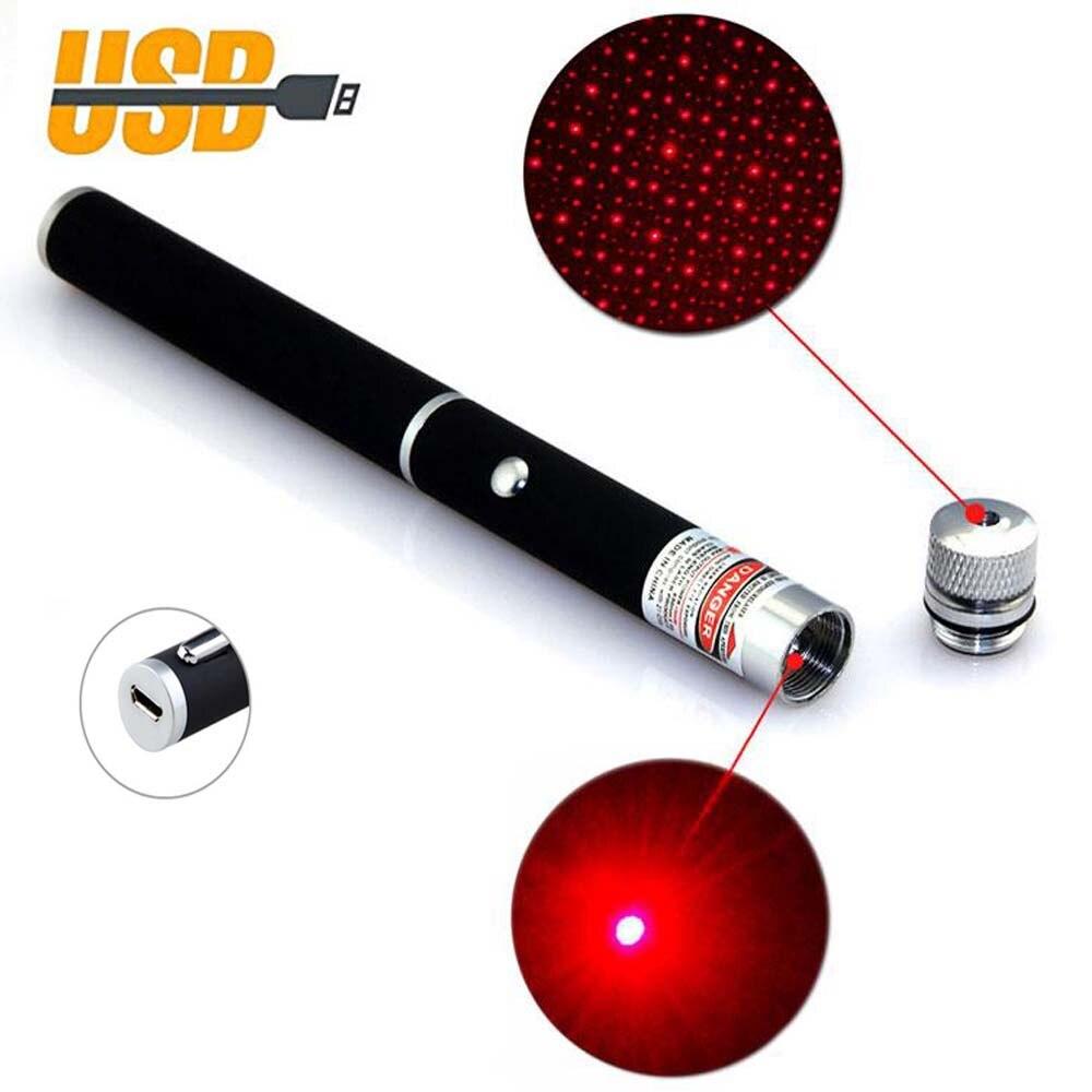 USB vert pointeur Laser USB charge haute puissance 5 MW Portable rouge Point Laser stylo unique Point étoilé rouge Laser
