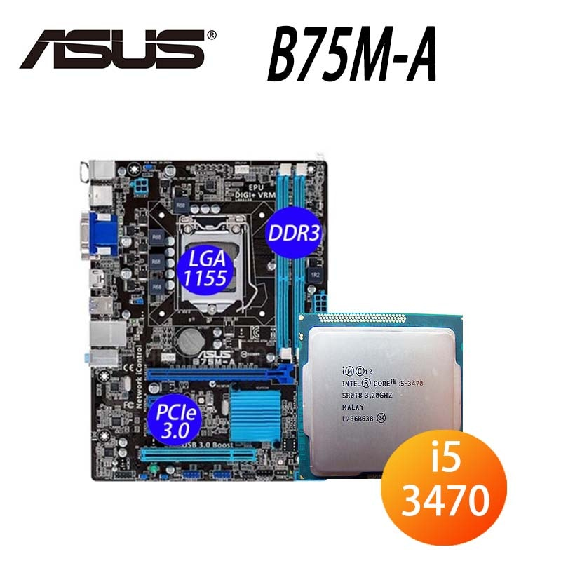 LGA 1155 Asus B75M-A اللوحة الأم + وحدة المعالجة المركزية إنتل كور i5 3470 DDR3 16 جيجابايت PCI-E 3.0 3.2GHz سطح المكتب B75 بلاسا-mp2 e 1155 مايكرو ATX المستخدمة