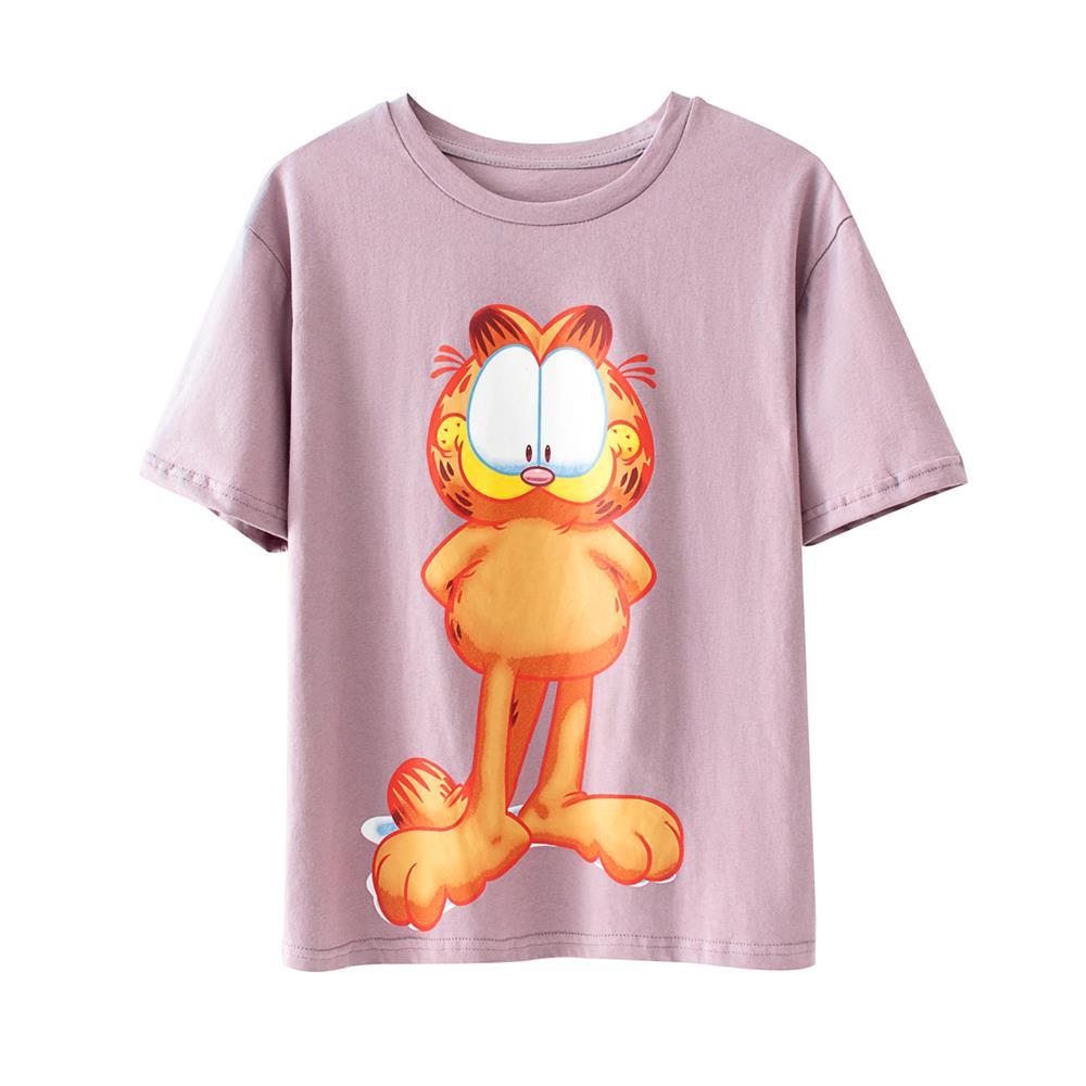 2020 nueva camisa púrpura de alta calidad para mujer, camiseta de manga corta de algodón Garfield