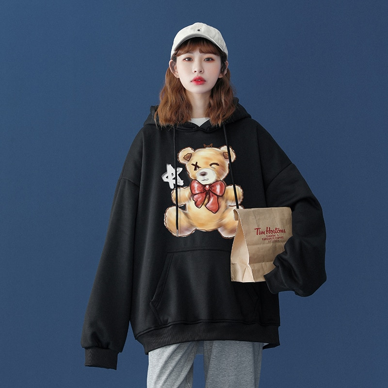 Women Fashion Sweatshirt Little bear Cartoon Print Hoodie Pullover  Couples Harajuku Unisex Loose Co