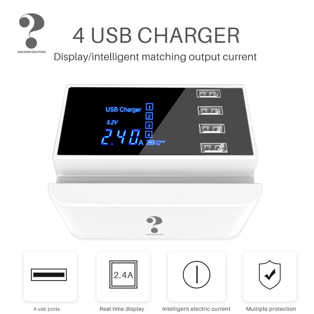 4 Port USB Typ C Ladegerät HUB Quick Charge 3,0 Led-anzeige Multi USB Ladestation Handy Desktop Wand startseite EU UK Stecker