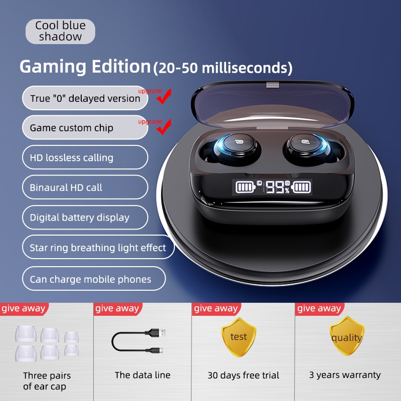 2500mAh LED Bluetooth Wireless Earphones Touch Control Earbuds Sports Waterproof Earbuds Noise Cancel Headsets With Microphone enlarge