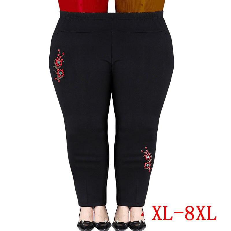 Übergroßen Frauen Hosen Neue Herbst Winter Stickerei Stretch Hohe Taille Casual Hosen Mittleren alters Frühjahr Frauen Hosen XL-8XL J29