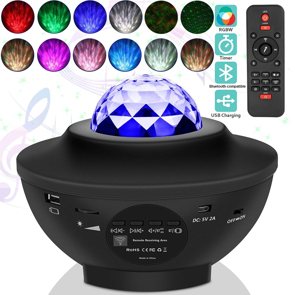 جهاز عرض (بروجكتور) ليد ضوء LED ستار إضاءة ليد ليلية جهاز عرض (بروجكتور) ليد ضوء الموسيقى مليء بالنجوم المياه موجة ضوئي ضوء النوم أباجورة D30