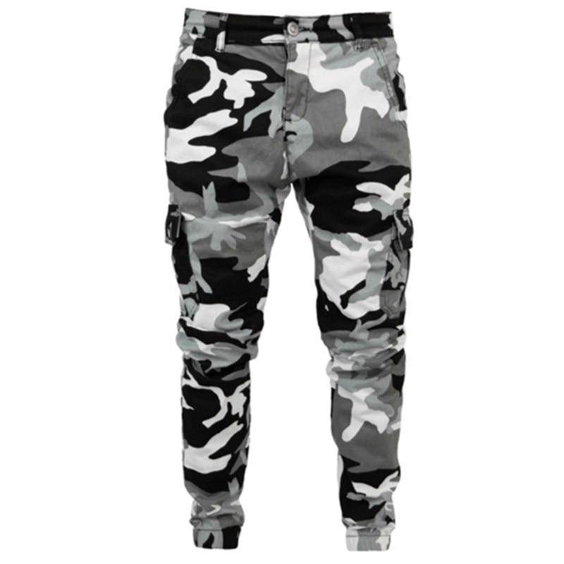 Мужские камуфляжные джинсы, облегающие брюки-карго со множеством карманов, армейские длинные брюки, деловые повседневные камуфляжные джог...