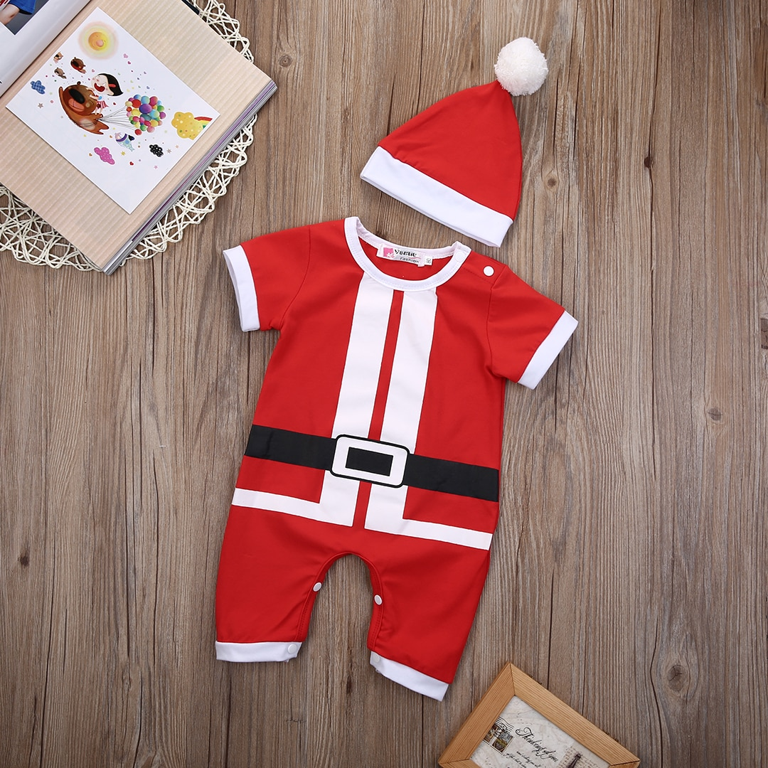 Spring Autumn Christmas Baby Boy Girl Santa Romper Short Sleeve Jumpsuit Hat Outfits Clothes gift