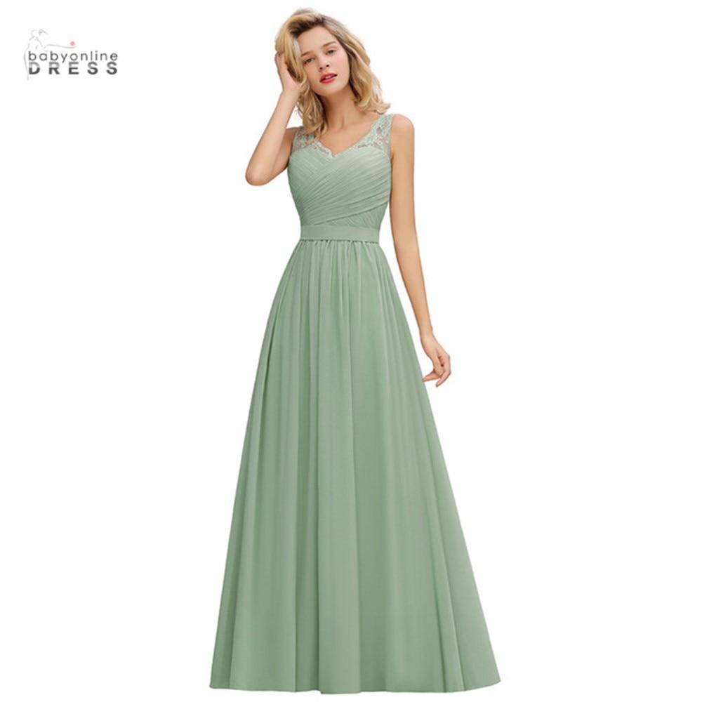 Lace Green Bridesmaid Dresses Long Short V-neck A-line Wedding Party Dress ночнушка женская robe de soirée de mariage недорого