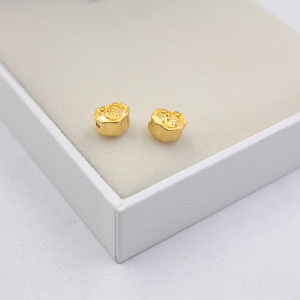 2 uds. Colgante de oro amarillo sólido de 24K artesanía 3D suerte Mini Ruyi colgante peso 0,12g/por Tamaño 7x5mm sello 999
