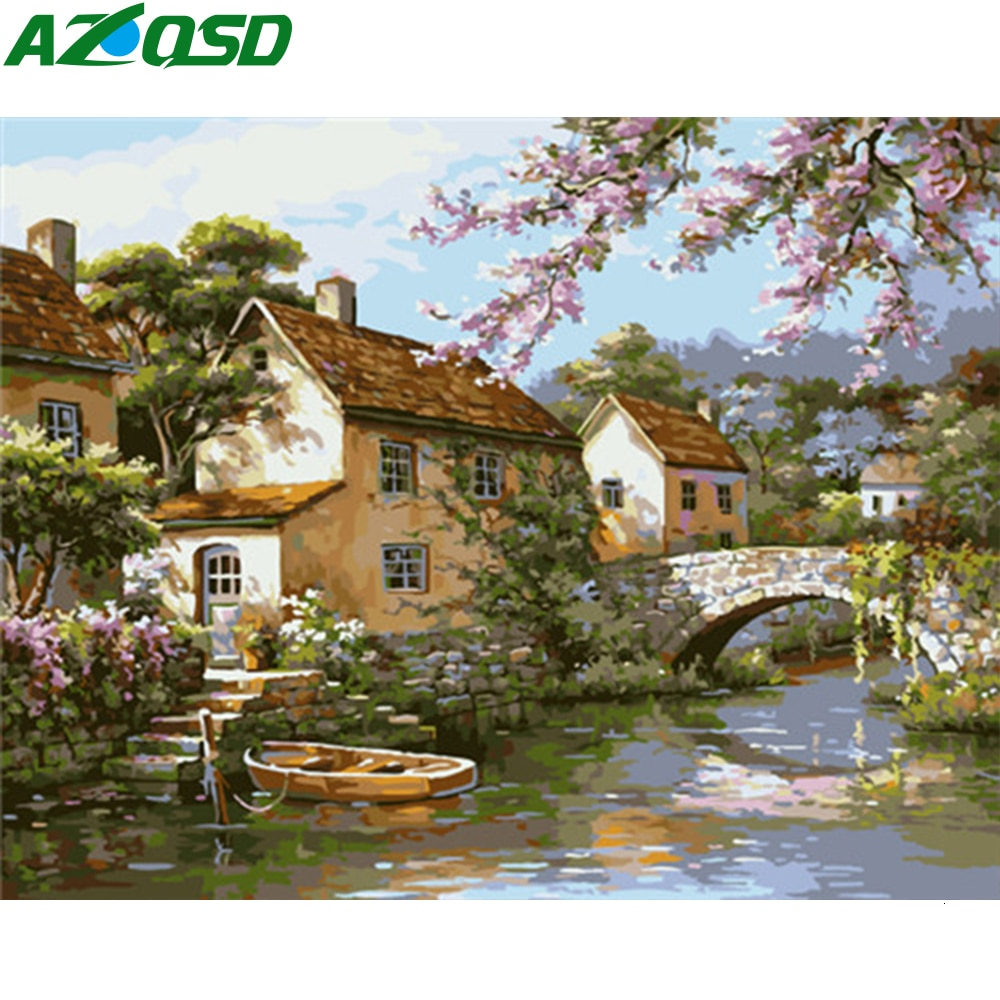 AZQSD DIY pintura lienzo con números pintura Kits ciudad Unframe artesanía colorear por números lienzo paisaje decoración del hogar
