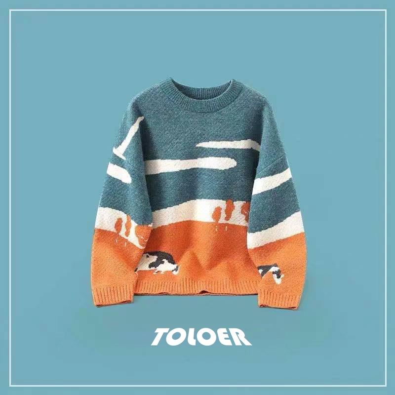 Men Cows Vintage Winter Sweaters 2021 Pullover Mens O-Neck Korean Fashions Sweater Women Casual Harajuku Clothes Cartoon