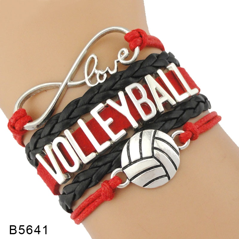 Infinity Love Volleyball Bracelets Sports Jewelry Handmade Braid Leather Charm Bracelets