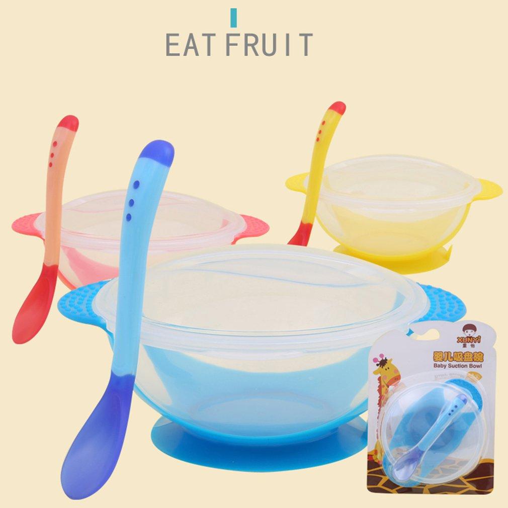 1 комплект Температура зондирования ложка для кормления ребенка посуда Еда чаша, обучающая посуда Услуги пластина/поднос детская посуда