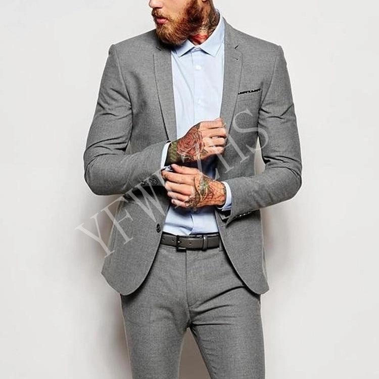 Guapo padrinos de boda muesca solapa novio esmoquin para hombre vestido de boda hombre chaqueta Blazer Prom cena (chaqueta + Pantalones + corbata) A050