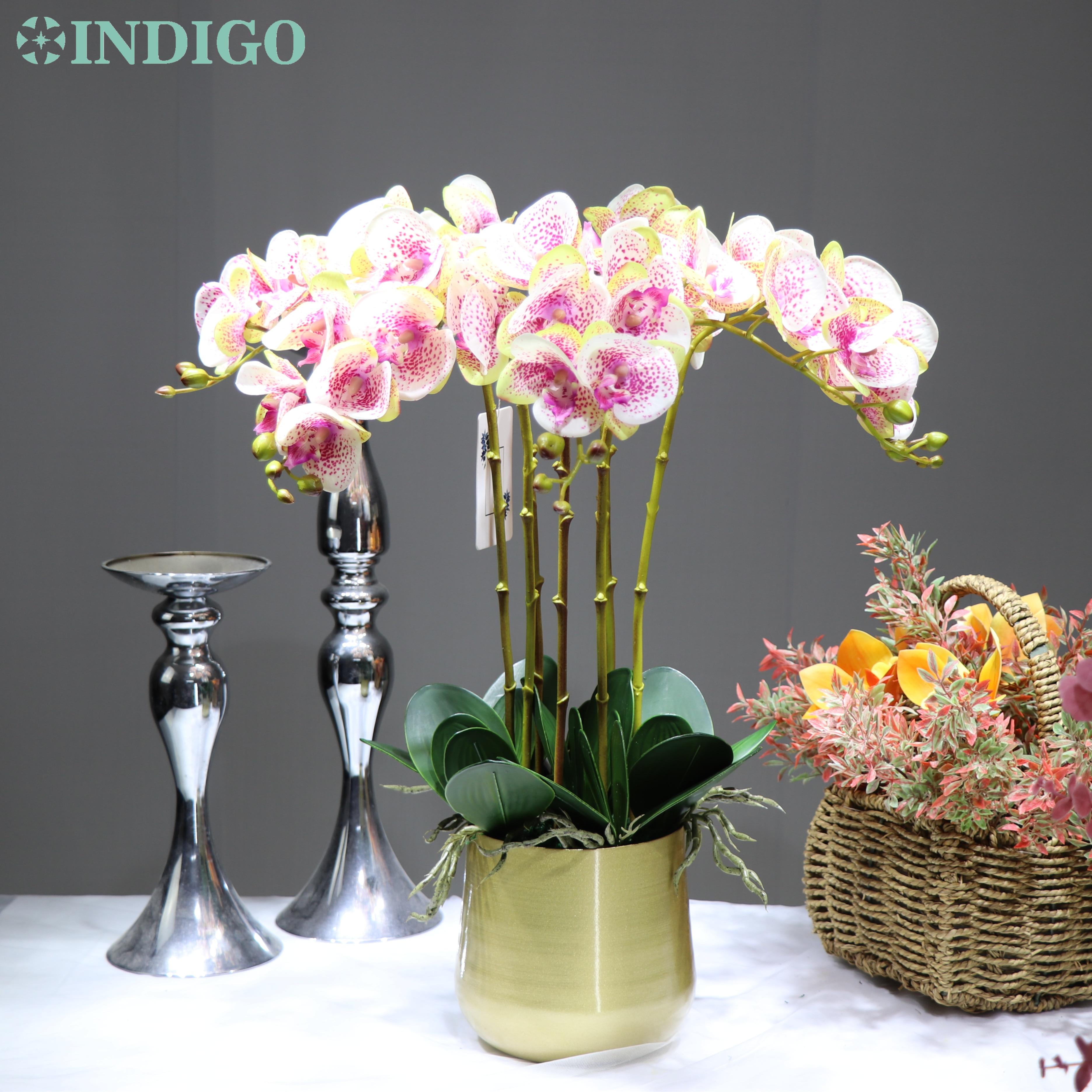 Indigo-(1 conjunto com pote) diy arranjo de flores ásia orquídeas verdadeiro toque mesa de casamento peça central festa flor evento frete grátis