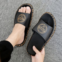 2021 Print Slippers Couple Outdoor Non-slip Men Women Home Fashion PU Leather Casual Single Shoes PV