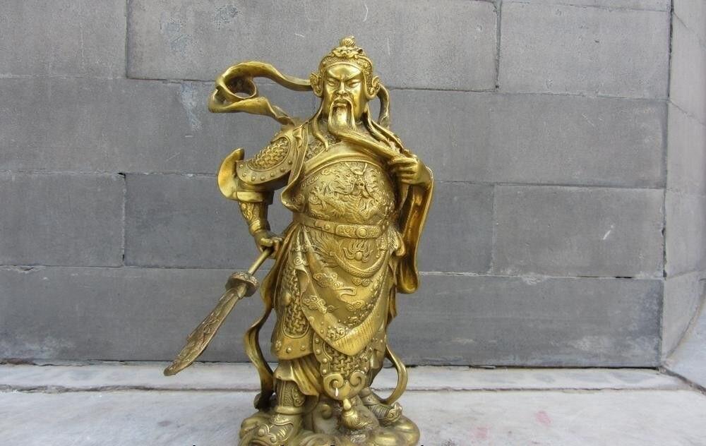 Envío Gratis folklórico de China estatua de Buda Guerrero Dragón Guan Gong Guan Yu General de latón y cobre