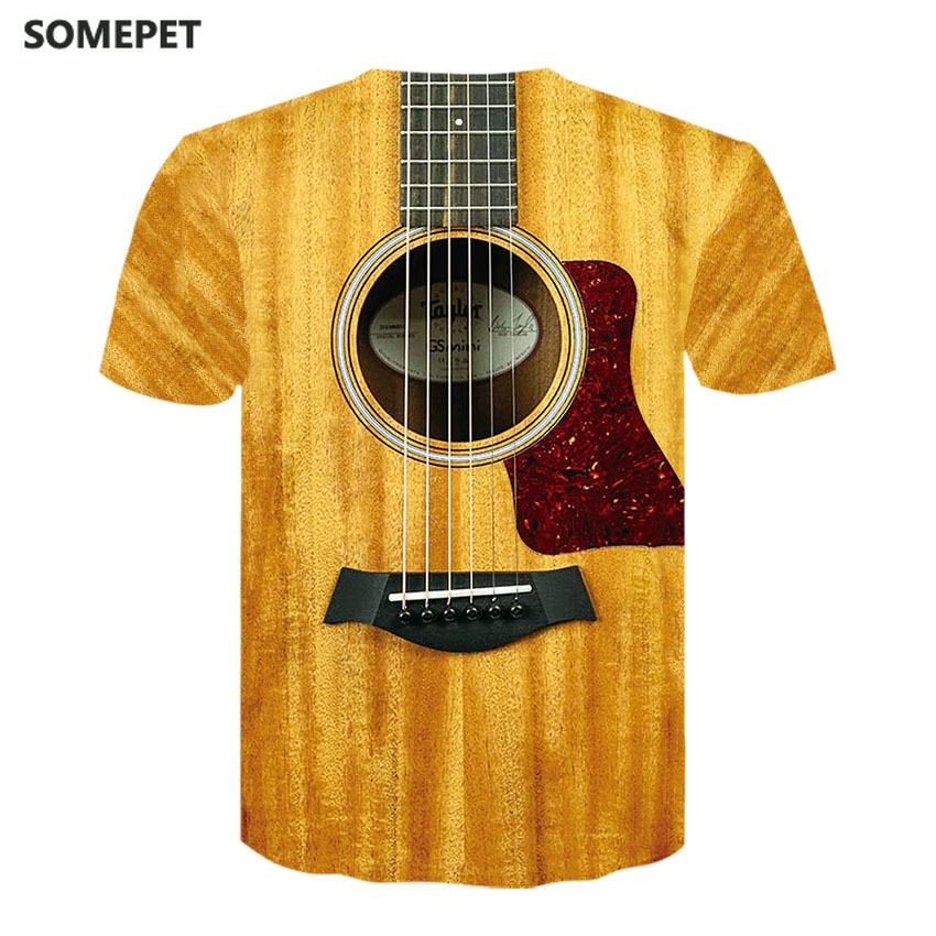 Camisa de manga curta de manga curta de guitarra impressa masculina camiseta de manga curta
