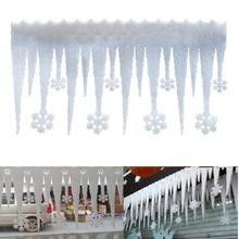 Bande de neige artificielle blanche 2 pièces   Flocon de neige, glace, fenêtre de fête, survaleur, décoration de flocon de neige, ornement de décor de noël