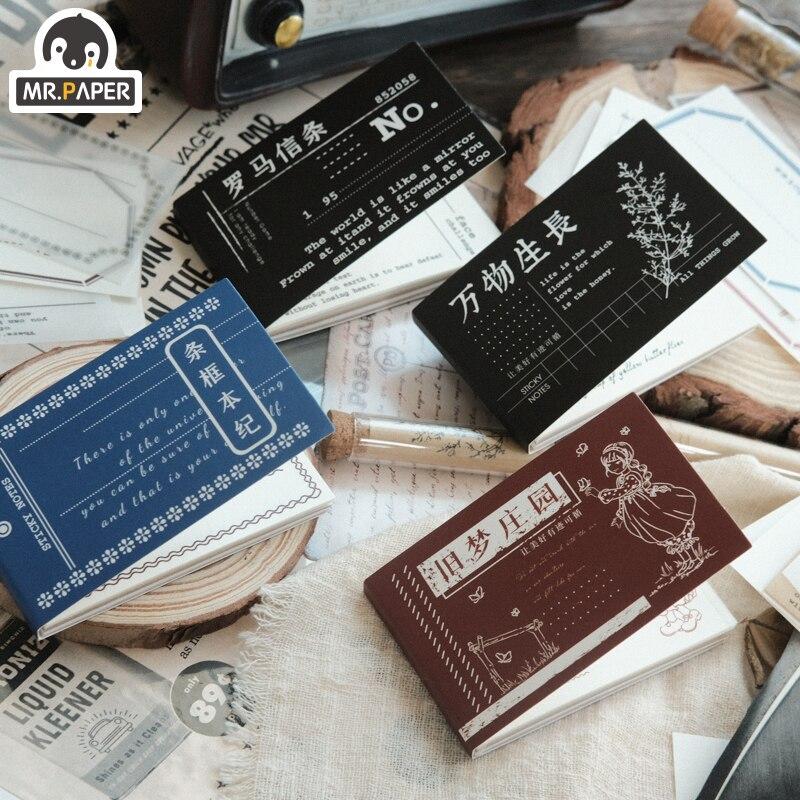 Mr.Paper 4 Design 50 pièces mémo tampons feuilles mobiles Vintage rétro Style mémoire Note Doodling Litmus papier Note papier matériel papier