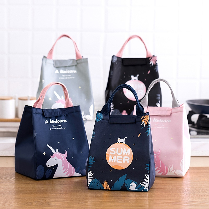 The new cartoon student lunch bag childrens boxes insulation Oxford cloth box outdoor picnic