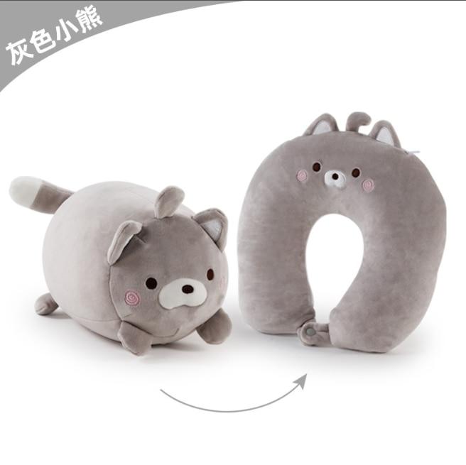 Новинка 2021, дорожная подушка в форме медведя, U-образная подушка, мультяшная декоративная подушка в форме частиц, два в одном или двух подушк...