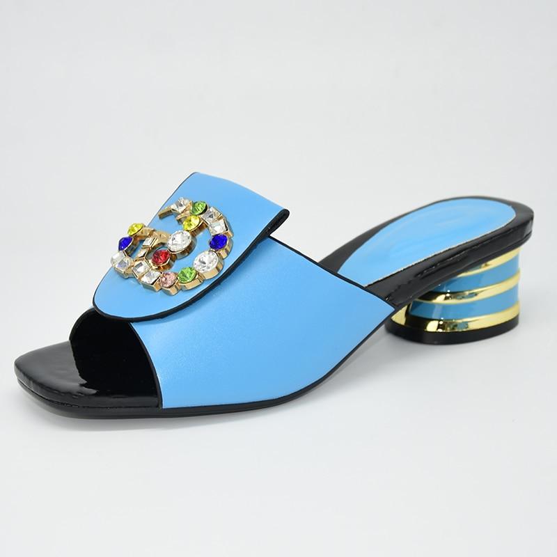 Zapatos de fiesta nigerianos italianos de alta calidad sin bolsa conjunto de zapatillas de moda zapatos de mujer africana de boda decorados con diamantes de imitación