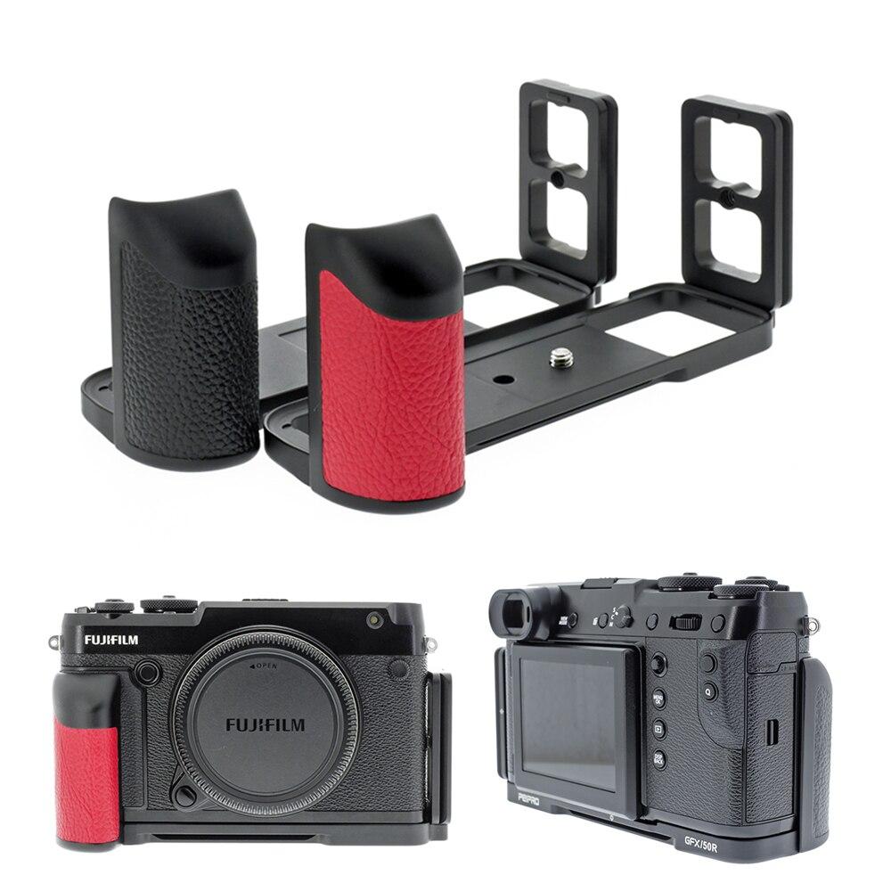 Peipro, aleación de aviación, liberación rápida de aluminio, placa L, soporte de cámara, empuñadura de mano para cámara FUJIFILM GFX-50R/GFX50R, placa L