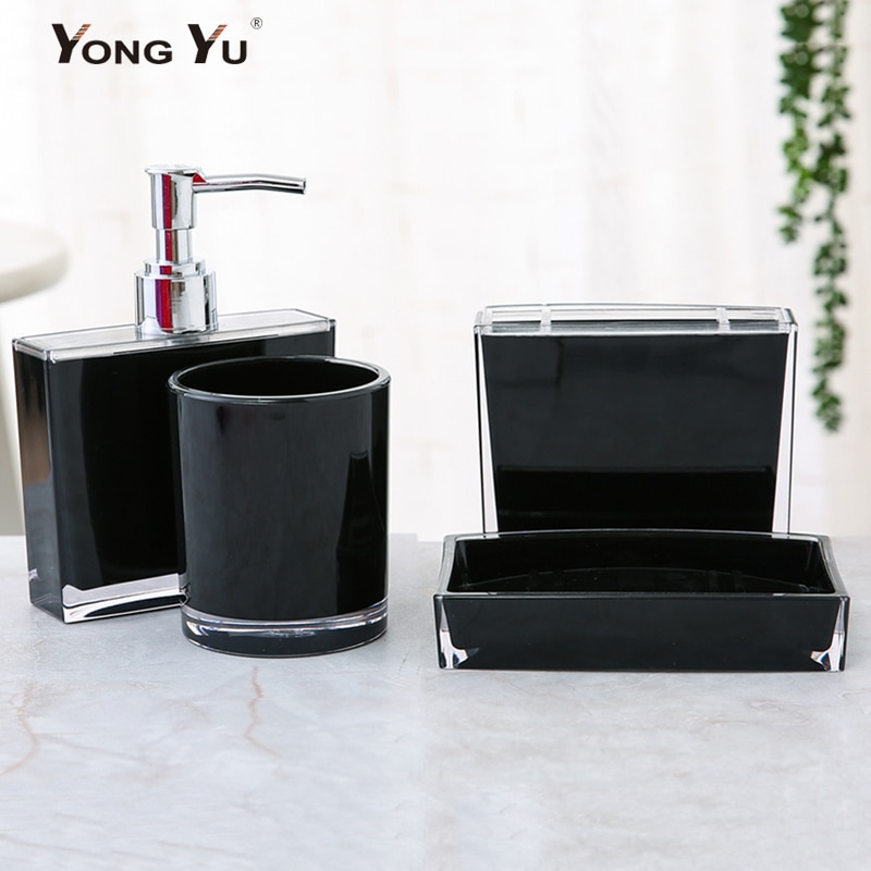 4 Pçs/set Série Banheiro Banho Copos Quadrados E Redondos de Plástico Saboneteira Garrafa Loção Dispensador de Sabão Decoração de Casa