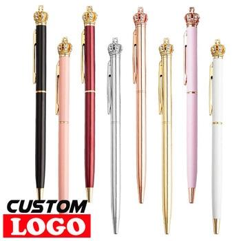 1000pcs/Lot Crown Ballpoint Pen Creative Cute Kawaii Diamond Rose Golden Metal Roller School Office Supplies Free Custom Logo