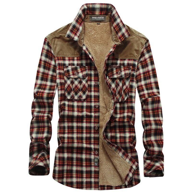 Рубашка мужская шерстяная в клетку, теплая Повседневная теплая, с длинным рукавом, в стиле Харадзюку