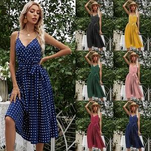 Woman Suspender Polka Dot Sexy Party Fashion Beach Long Dress Spring Summer 2021 New Light Slim Dresses Sundress Casual Vestido