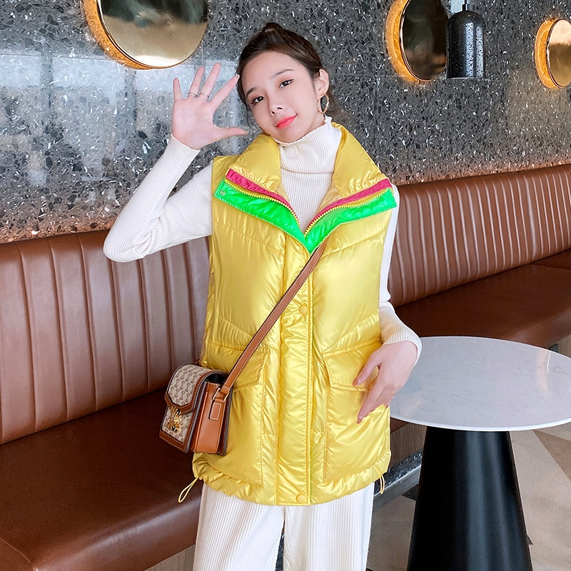 Women's Sleeveless Jacket Turn Down Collar Solid Glossy Ladies Casual Winter Vests Padded Quilted Zipper Waistcoat for Female inclined zipper fly rib spliced turn down collar slimming flocked sweatshirt for men