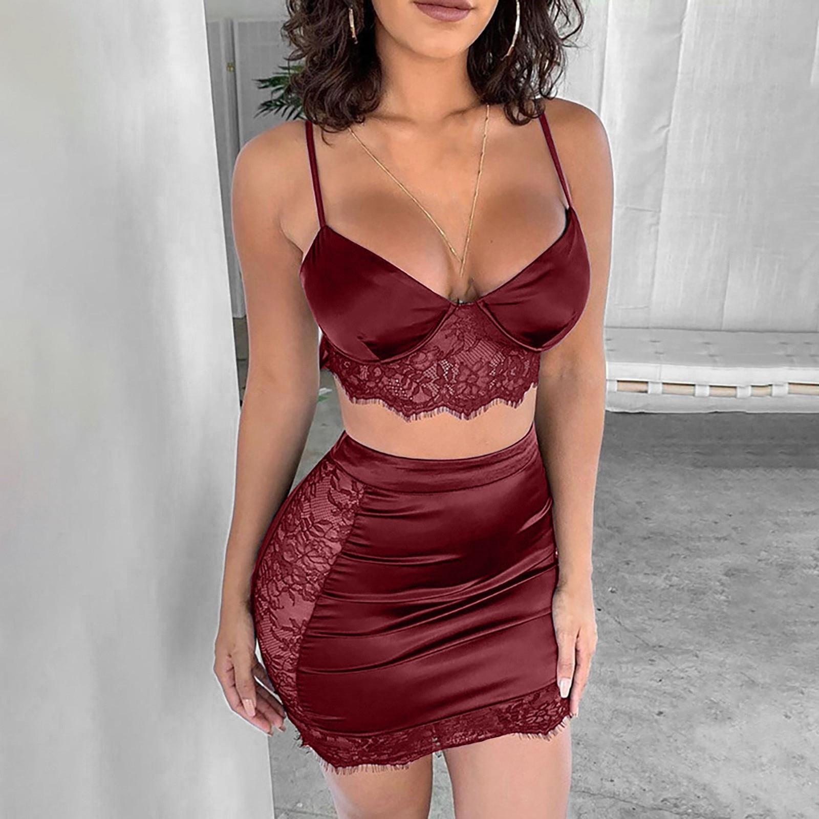 Sexy Solid Color Lace Stitching Fun Suit Skirt Lingerie Temptation Underwear Plus Size Back Pajamas