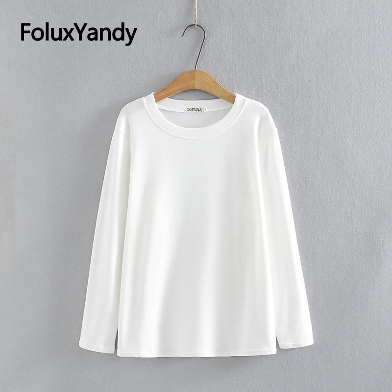 Повседневные Осенние Топы, женские футболки, свободные однотонные Топы с длинным рукавом, футболки 3XL 4XL KKFY5664