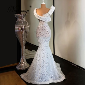 Sequins Mermaid Prom Dresses Saudi Arabia Long Evening Gowns 2021 Vestidos De Festa Formal Prom Dress Middle East Celebrity Gown